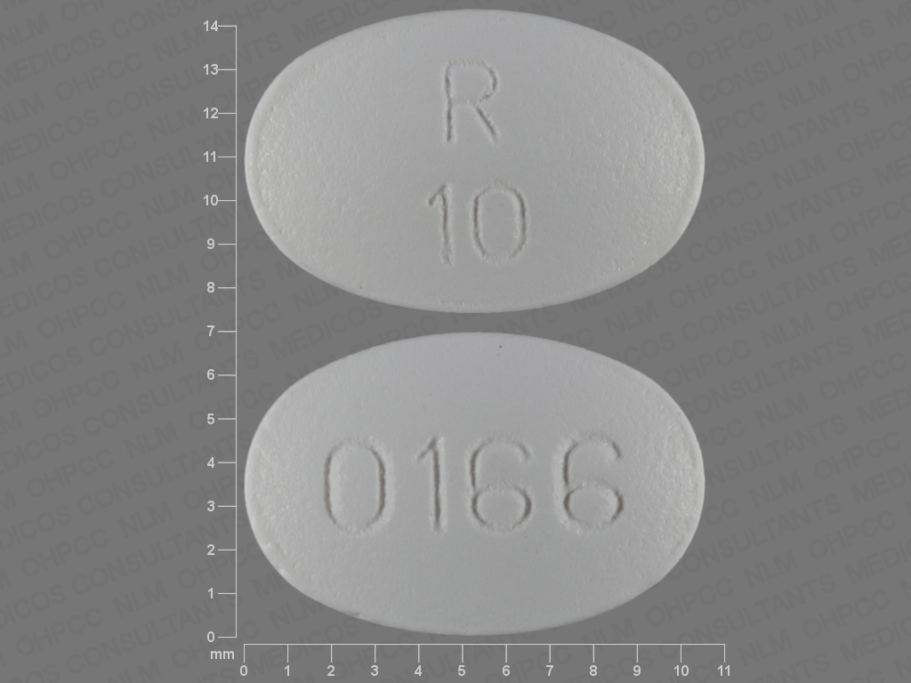 R 10 0166 Pill Images (White / Elliptical / Oval)