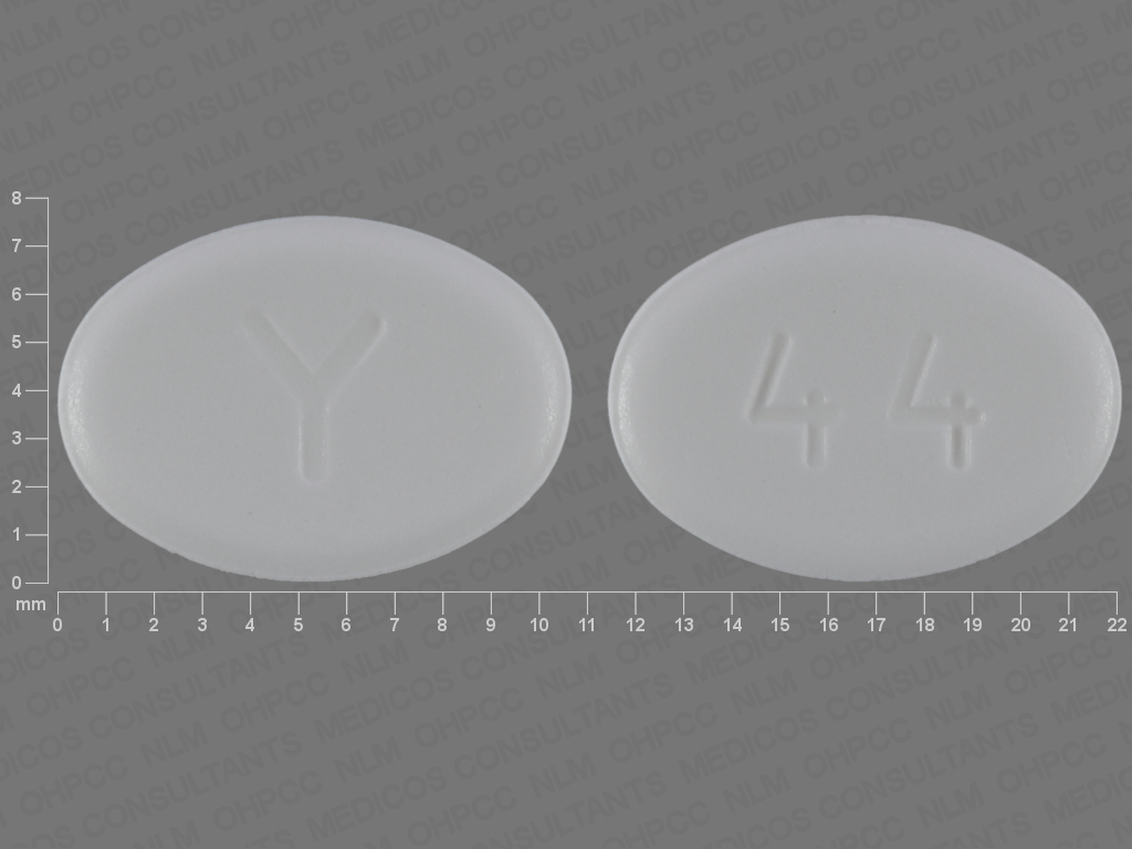 Y 44 Pill Images (White / Elliptical / Oval)
