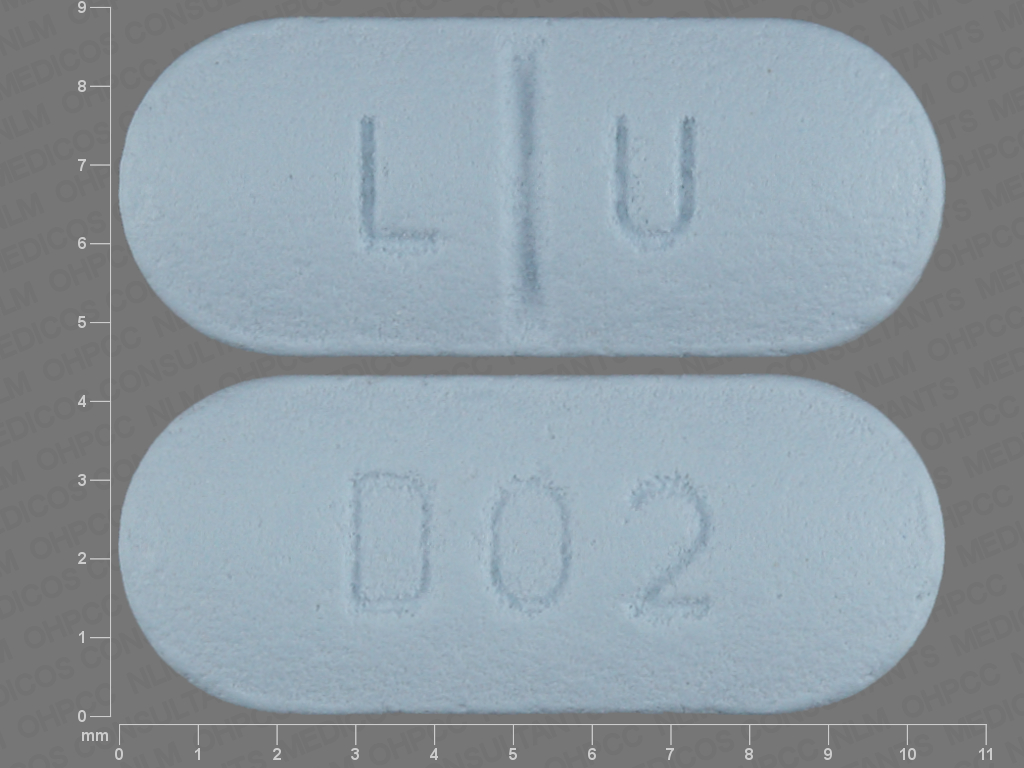 L U D02 Pill Images (Blue / Elliptical / Oval)