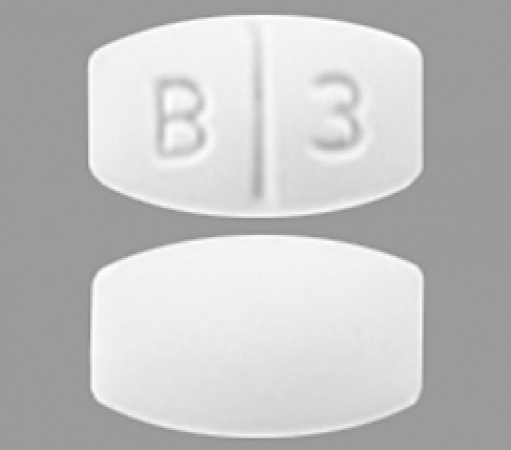 B 3 Pill Images (White / Elliptical / Oval)