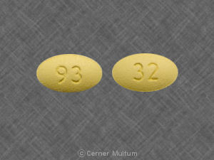 93 32 Pill Images (Yellow / Elliptical / Oval)