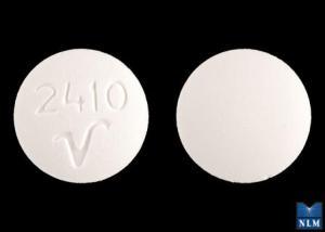 2410 V Pill Images (White / Round)