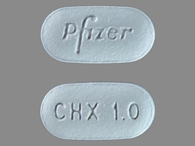 Pfizer CHX 1.0 Pill Images (Blue / Elliptical / Oval)