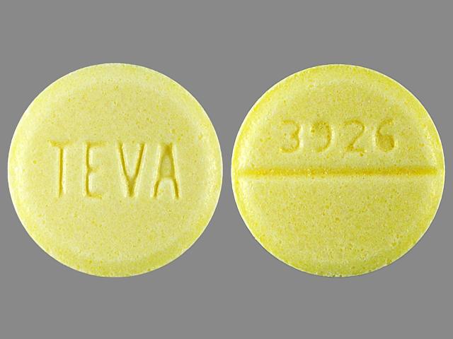 TEVA 3926 Pill Images (Yellow / Round)