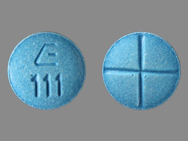 E 111 Pill Images (Blue / Round)