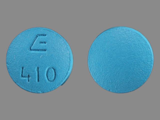 E 410 Pill Images (Blue / Round)