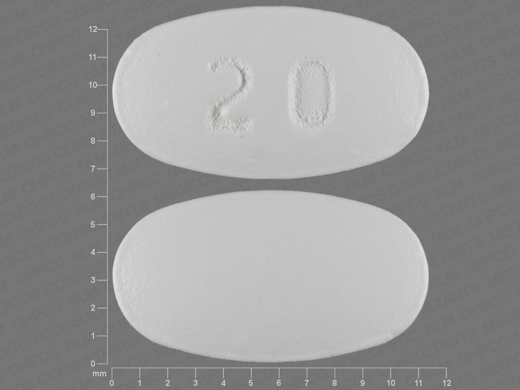 20 Pill Images (White / Elliptical / Oval)