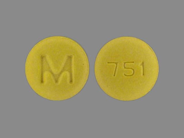 M 751 Pill Images (Yellow / Round)