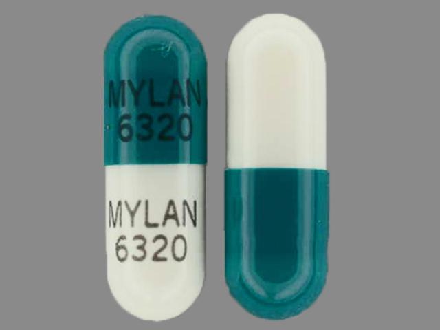 MYLAN 6320 MYLAN 6320 Pill Images (Green & White / Capsule ...