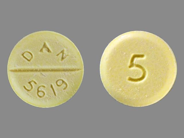 DAN 5619 5 Pill Images (Yellow / Round)