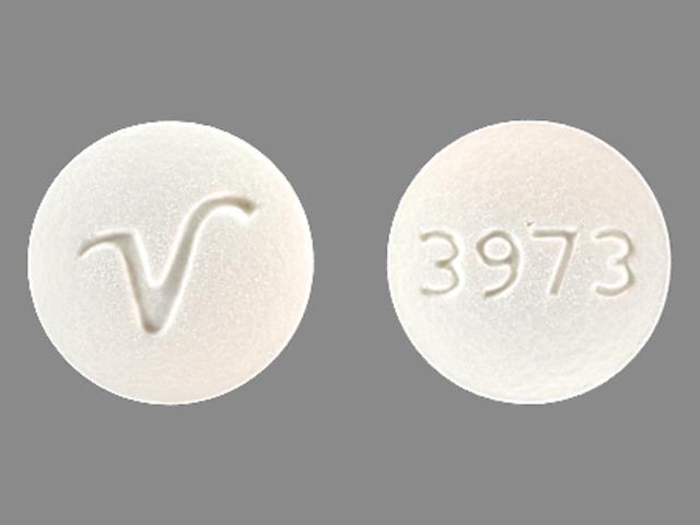 3973 V Pill Images (White / Round)