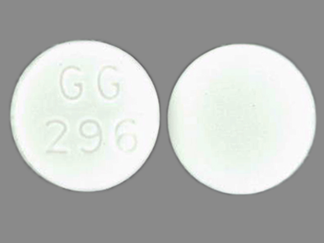 GG 296 Pill Images (White / Round)