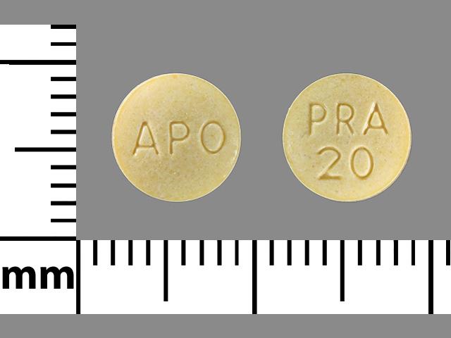 APO PRA 20 Pill Images (Yellow / Round)