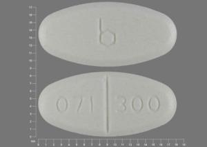 B 071 300 Pill Images (White / Elliptical / Oval)