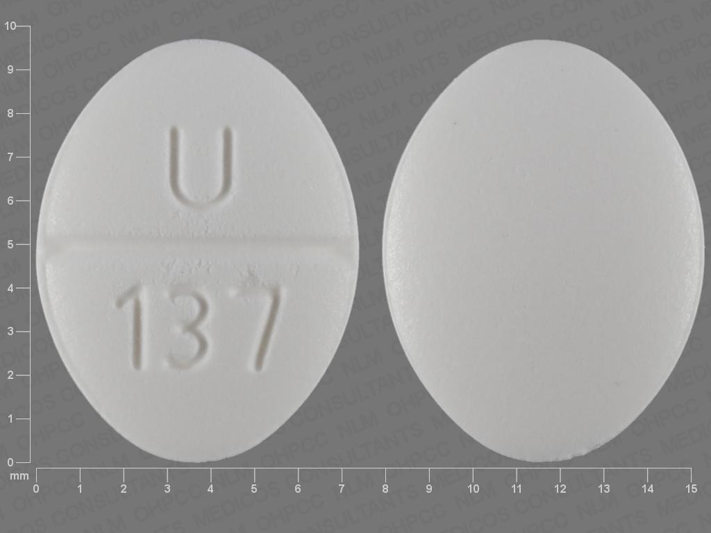 U 137 Pill Images (White / Elliptical / Oval)
