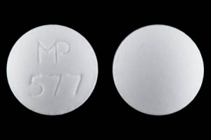 MP 577 Pill Images (White / Round)