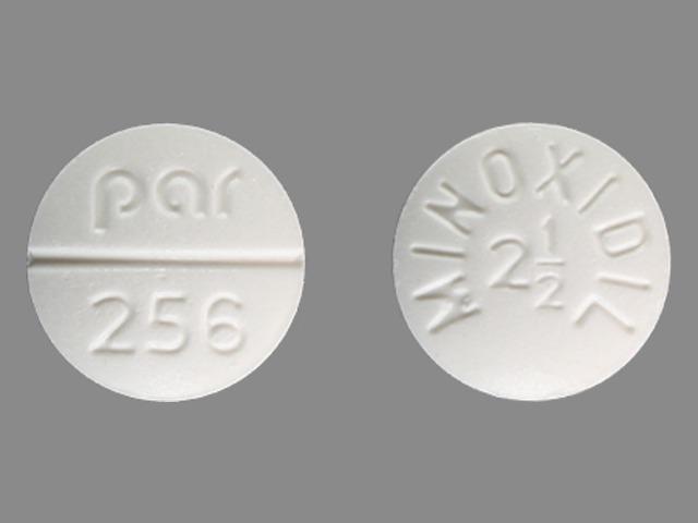 MINOXIDIL 2 1/2 par 256 Pill Images (White / Round)