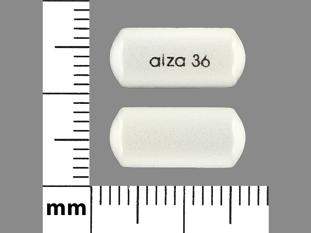 Alza 36 Pill Images (White / Elliptical / Oval)