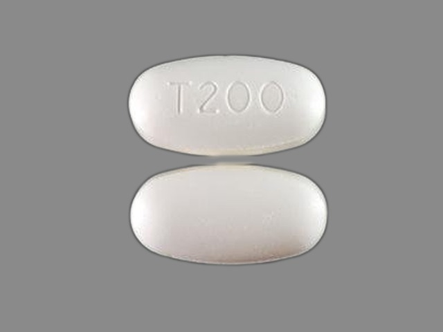 T200 Pill Images (White / Elliptical / Oval)
