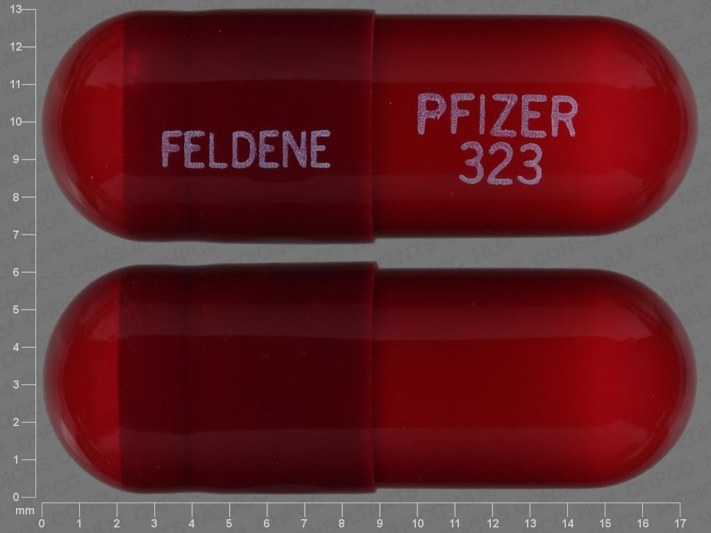 FELDENE PFIZER 323 Pill Images (Red / Capsule-shape)