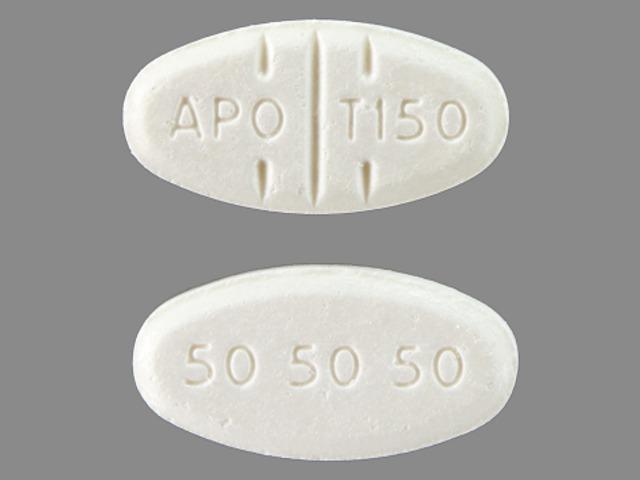 APO T150 50 50 50 Pill Images (White / Elliptical / Oval)