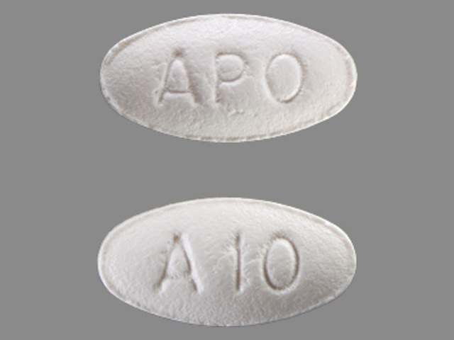 APO A10 Pill Images (White / Elliptical / Oval)