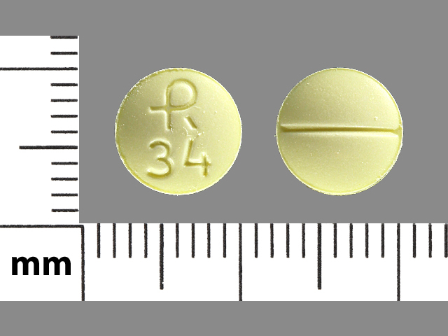 R 34 Pill Images (Yellow / Round)