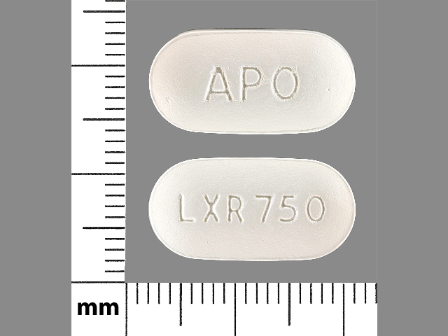 APO LXR 750 Pill Images (White / Capsule-shape)