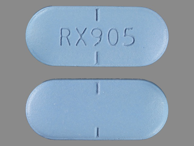 RX 905 Pill Images (Blue / Capsule-shape)