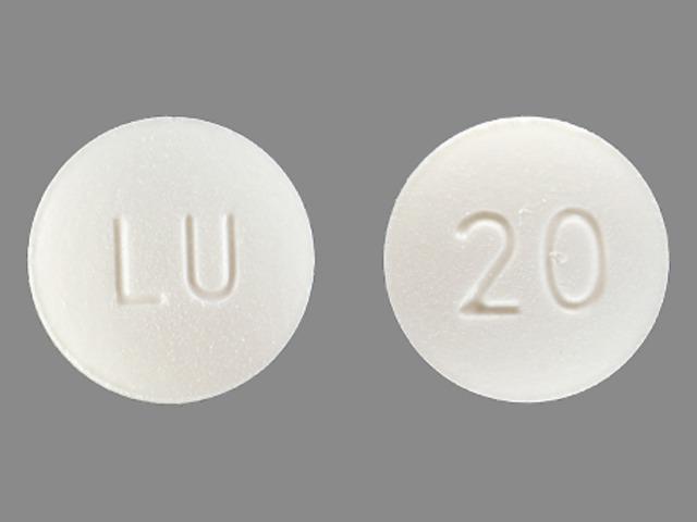 LU 20 Pill Images (White / Round)