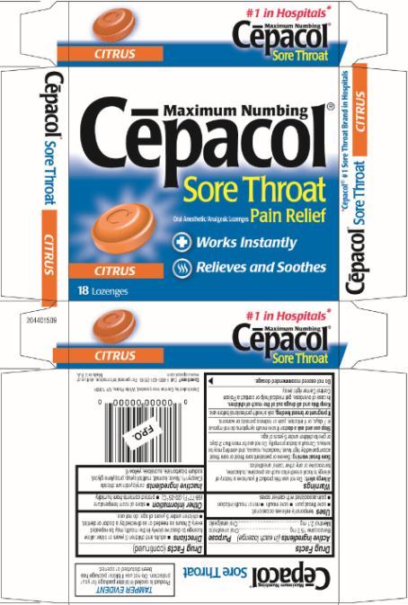 Cepacol Sore Throat Maximum Numbing Cherry (lozenge) Combe ...