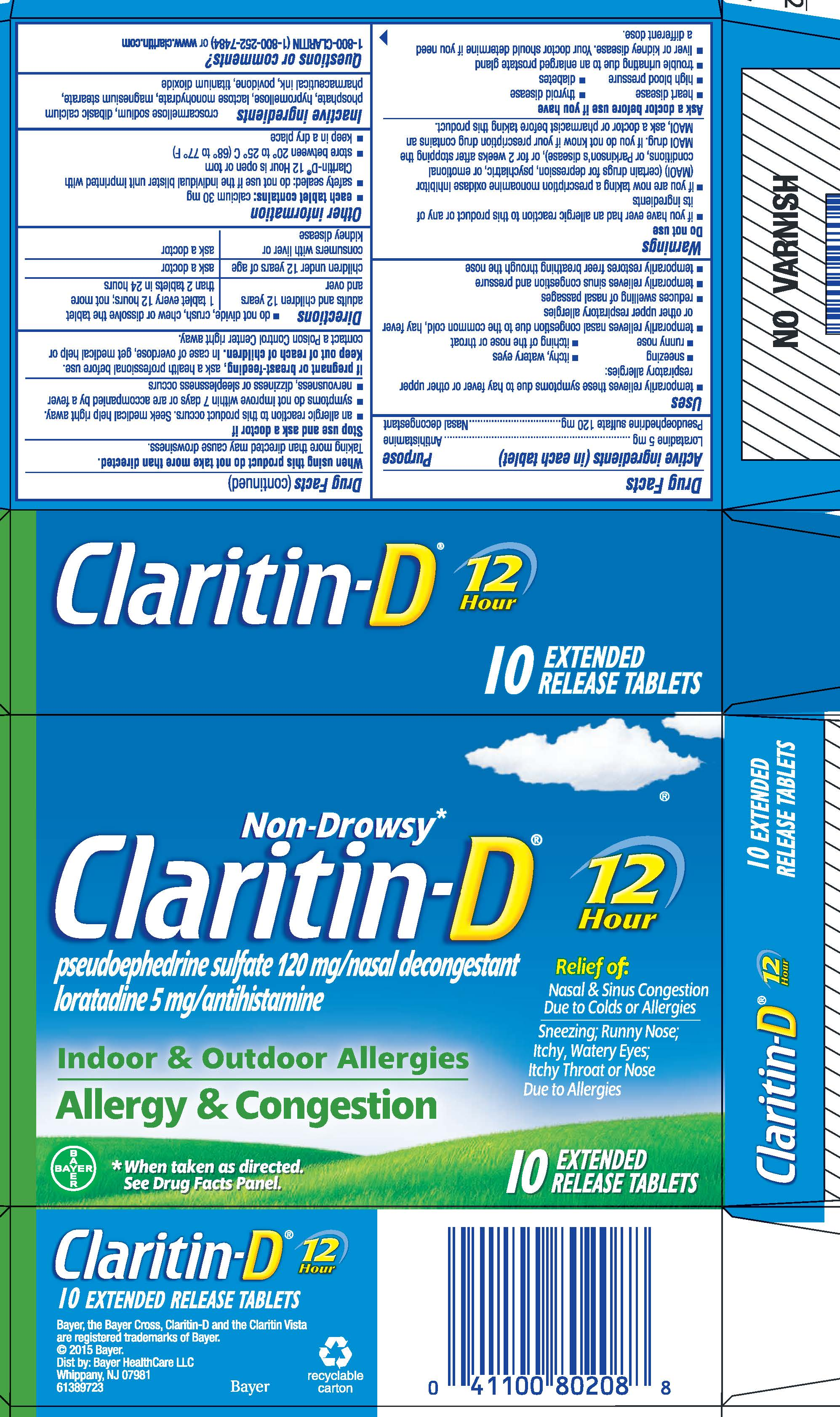 Claritin-D 12 Hour (tablet extended release) Bayer ...