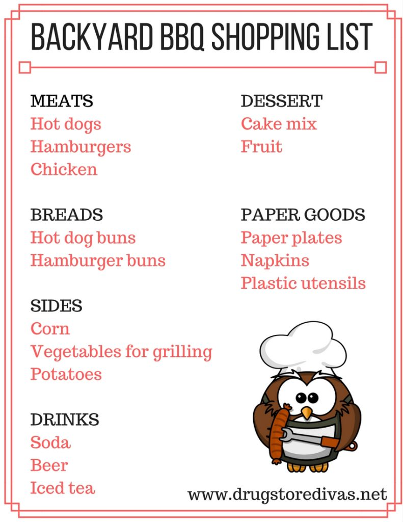 Printable Backyard Bbq Shopping List