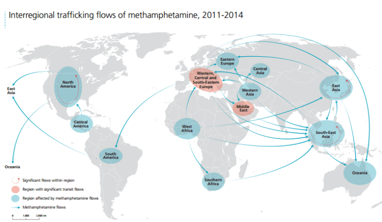 Trafficking routes for methamphetamine