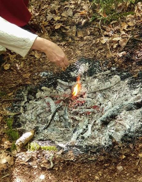 On voit une main faire offrande aux Divinités dans les braises d'un feu. Une flamme jaillit au contact de l'offrande.