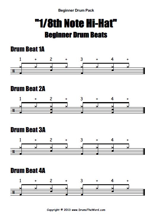 Beginner Video Drum Pack PDF Help Sheet