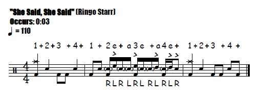 She Said, She Said Fill 0:03 Beatles & Ringo Starr - Drum Fill Transcription