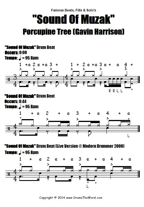 Sound Of Muzak Beat Notation (Gavin Harrison & Porcupine Tree)