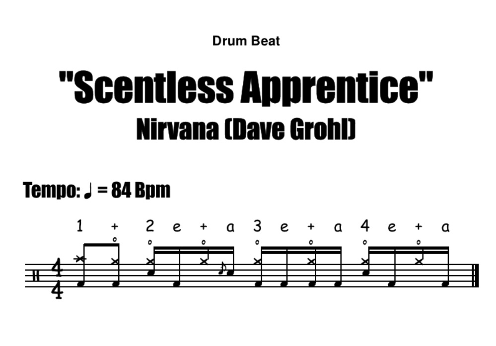 """Scentless Apprentice"" - (Nirvana) Drum Beat Video Drum Lesson Notation Chart Transcription Sheet Music Drum Lesson"