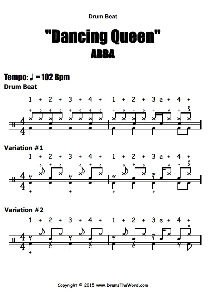 """Dancing Queen"" - (ABBA) Drum Beats Video Drum Lesson Notation Chart Transcription Sheet Music Drum Lesson"
