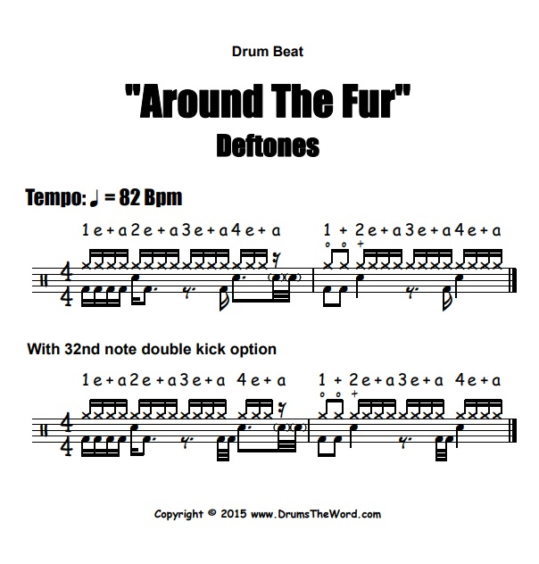 """Around The Fur"" - (Deftones) Drum Beat Video Drum Lesson Notation Chart Transcription Sheet Music Drum Lesson"