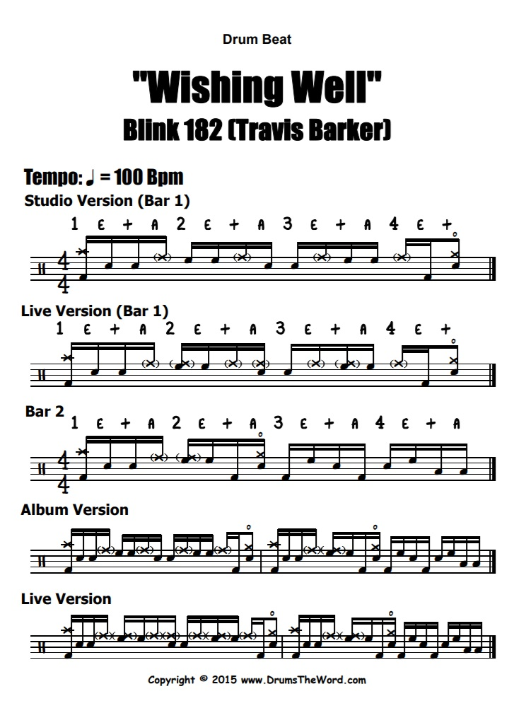 """""""Wishing Well"""" - (Blink 182) Drum Beat Video Drum Lesson Notation Chart Transcription Sheet Music Drum Lesson"""