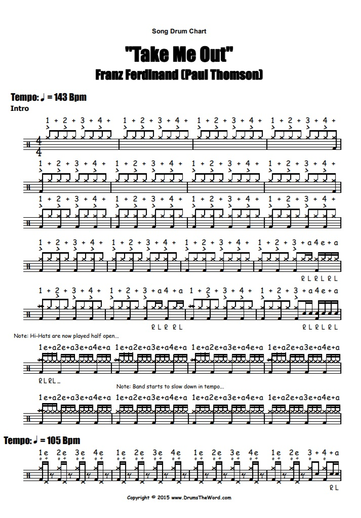 """Take Me Out"" - (Franz Ferdinand) Full Song Video Drum Lesson Notation Chart Transcription Sheet Music Drum Lesson"