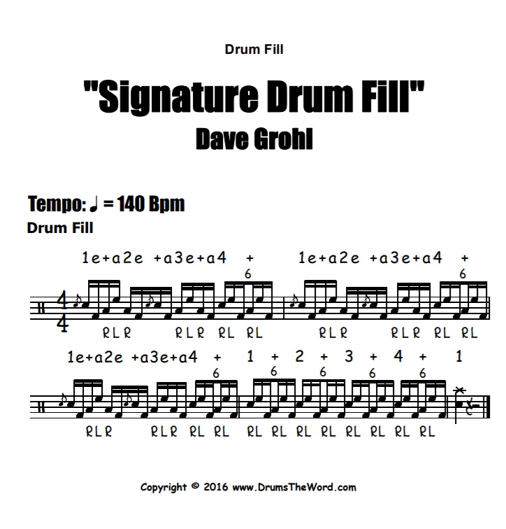 """Dave Grohl"" - (Signature Lick) Drum Solo Video Drum Lesson Notation Chart Transcription Sheet Music Drum Lesson"