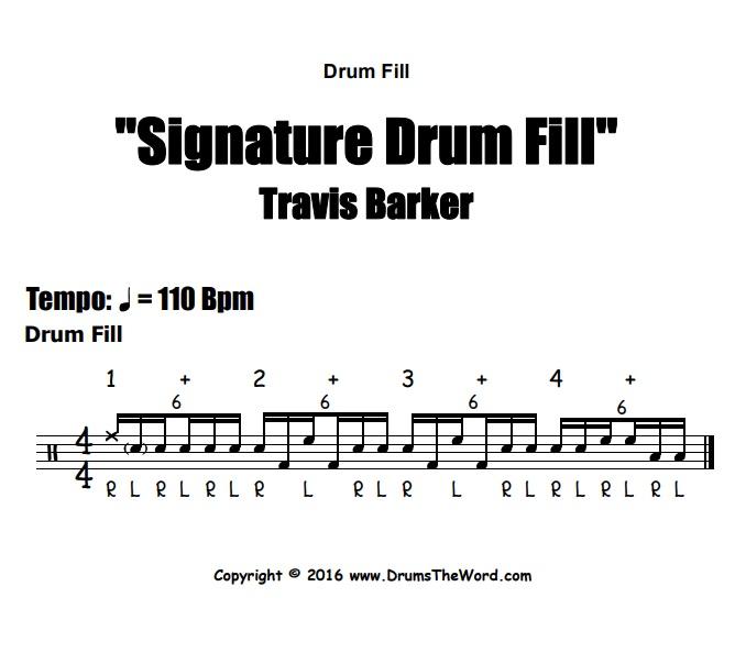 """Travis Barker"" - (Signature Lick) Drum Fill Video Drum Lesson Notation Chart Transcription Sheet Music Drum Lesson"