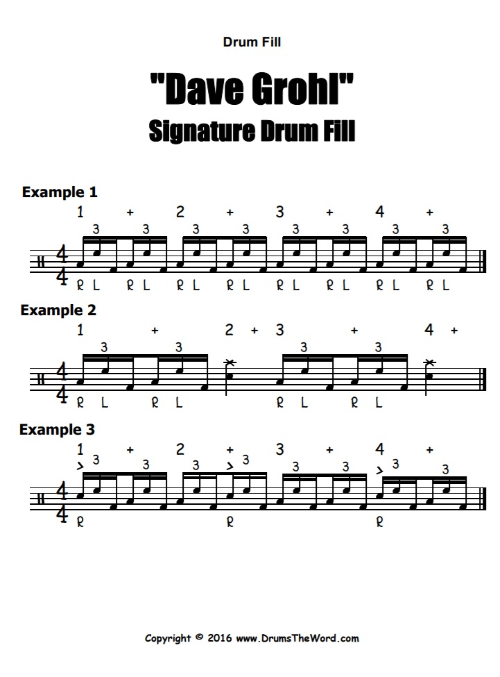 """Dave Grohl"" - (Signature Lick) Drum Fill Video Drum Lesson Notation Chart Transcription Sheet Music Drum Lesson"