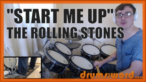 """""""Start Me Up"""" - (The Rolling Stones) Full-Song Video Drum Lesson Notation Chart Transcription Sheet Music Drum Lesson"""