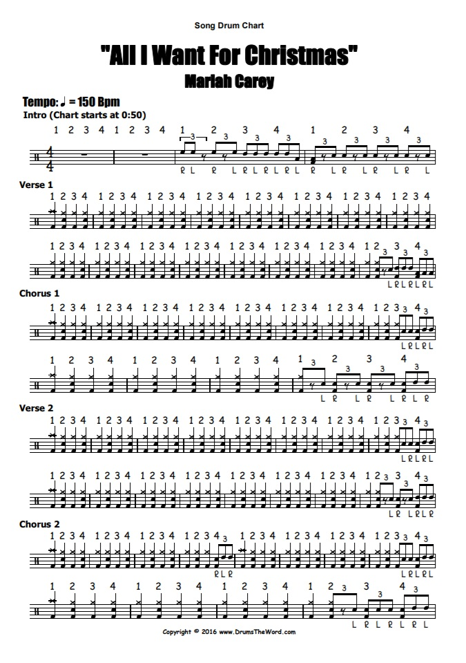 """All I Want For Christmas"" - (Mariah Carey) Full Song Video Drum Lesson Notation Chart Transcription Sheet Music Drum Lesson"