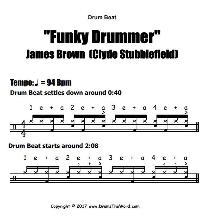 """Funky Drummer"" - (James Brown) Drum Beat Video Drum Lesson Notation Chart Transcription Sheet Music Drum Lesson"