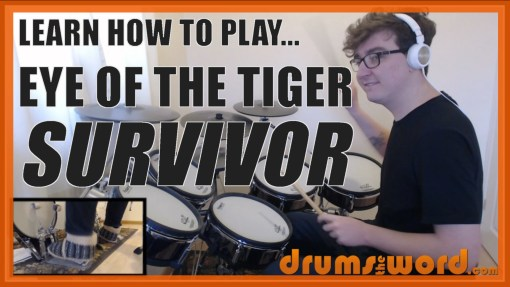 """Eye Of The Tiger"" - (Survivor) Full-Song Video Drum Lesson Notation Chart Transcription Sheet Music Drum Lesson"
